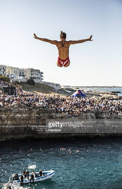 In this handout image provided by Red Bull Anna Bader of Germany dives from the 22 metre platform during the first rounds of the seventh stop of the...