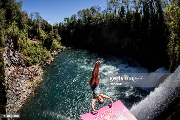 In this handout image provided by Red Bull Anna Bader of Germany dives from the 21 metre platform during the sixth and final stop of the Red Bull...
