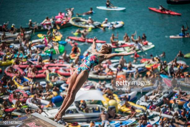 In this handout image provided by Red Bull Antonina Vyshyvanova of the Ukraine dives from the 21 metre platform during the final competition day of...