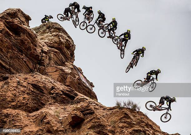 In this handout image provided by Red Bull Cameron Zink of the USA competes during finals of the tenth edition of Red Bull Rampage freeride event...