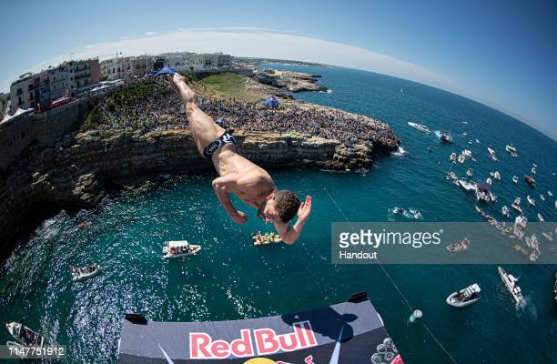 In this handout image provided by Red Bull, David Colturi of the USA dives from the 27 metre platform during the final competition day of the third...