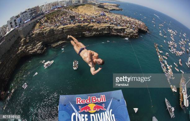 In this handout image provided by Red Bull David Colturi of the USA dives from the 27 metre platform during the third stop of the Red Bull Cliff...