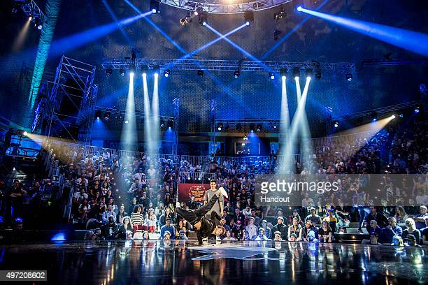 In this handout image provided by Red Bull Fouad Ambelj of Morocco competes against Victor Montalvo of the USA during the Red Bull BC One...