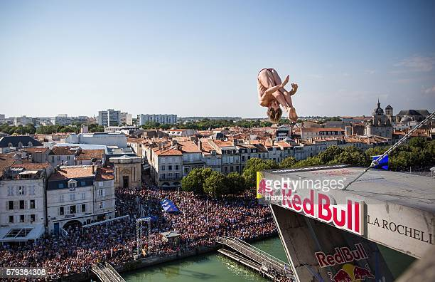 In this handout image provided by Red Bull Gary Hunt of the UK dives from the 27 metre platform on the Saint Nicolas Tower during the fourth stop of...