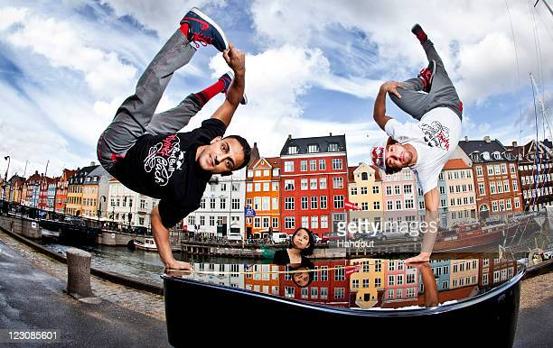 In this handout image provided by Red Bull Gengis Lil Ceng Ademoski and Khaled KC Chaabi of the four time world champion Berlin dance troupe Flying...