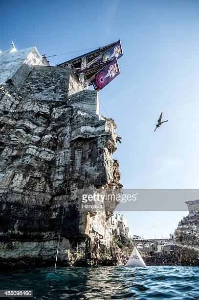 In this handout image provided by Red Bull Jacqueline Valente of Brazil dives from the 22 metre platform during the seventh stop of the Red Bull...