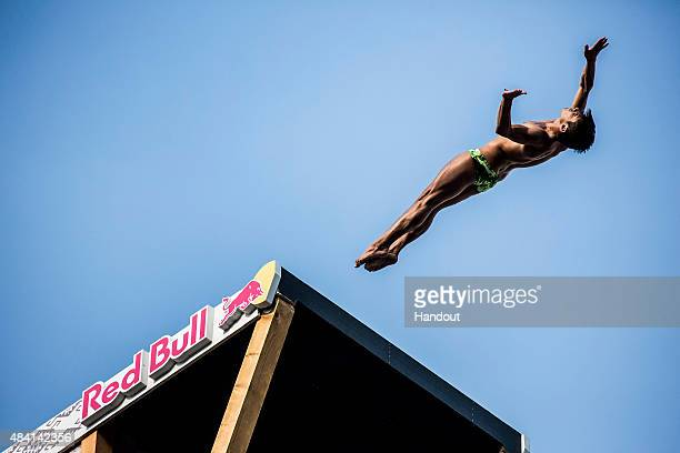 In this handout image provided by Red Bull Jonathan Paredes of Mexico dives from the 28 meter platform on the Stori Most bridge during the sixth stop...