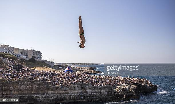 In this handout image provided by Red Bull Jonathan Paredes of Mexico dives from the 275 metre platform during the seeding round of the seventh stop...