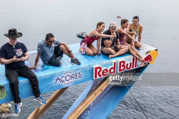 In this handout image provided by Red Bull Judges Ken Grove of Austrlia and Antonio Martinez of Mexico Tara HyerTira and Greg Lougnais of the USA...