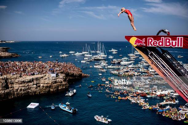 In this handout image provided by Red Bull, Lysanne Richard of Canada dives from the 21 metre platform during the last competition day of the seventh...