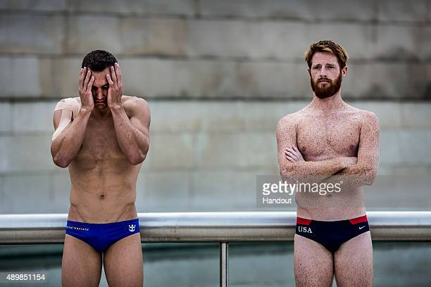 In this handout image provided by Red Bull Michal Navratil of the Czech Republic and Andy Jones of the USA outside the Guggenheim Museum during the...