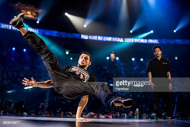 """In this handout image provided by Red Bull, Monnir """"Mounir"""" Biba of France competes against Hong """"Hong 10"""" Kim of South Korea during the Red Bull BC..."""