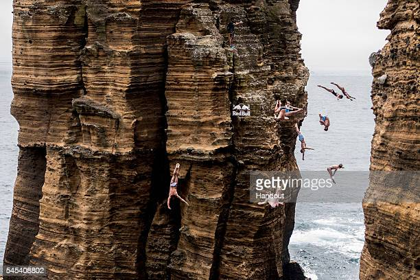 In this handout image provided by Red Bull Nine divers Todor Spazov of Bulgaria Gary Hunt of the UK Kyle Mitrione of the USA Helena Merten of...