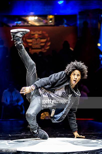 In this handout image provided by Red Bull One half of the dance pair Les Twins Larry Bourgeois of France performs in a side act during the Red Bull...