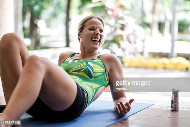 In this handout image provided by Red Bull Rachelle Simpson of the USA reacts during warmup prior to the first training session of the seventh and...
