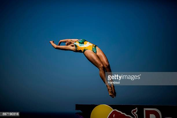 In this handout image provided by Red Bull Rhiannan Iffland of Australia dives from the 215 metre platform during the fifth stop of the Red Bull...