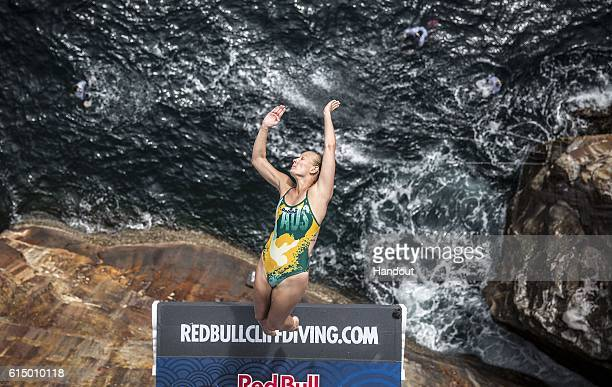 In this handout image provided by Red Bull Rhiannan Iffland of Australia dives from the 215 metre platform during the eighth stop of the Red Bull...