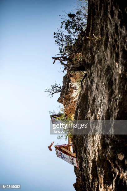 In this handout image provided by Red Bull Rhiannan Iffland of Australia dives from the 21 metre platform during the fourth stop of the Red Bull...