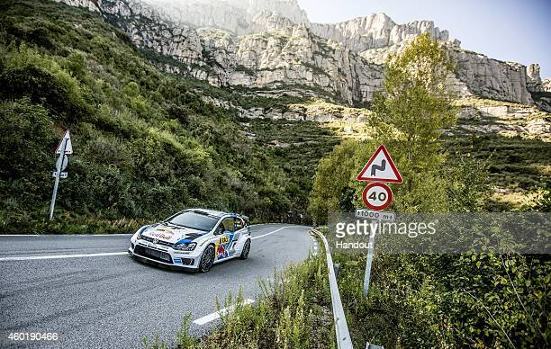 In this handout image provided by Red Bull Sebastien Ogier of France drives his Volkswagen Polo R during a WRCstyle session where Neymar da Silva...