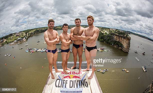 In this handout image provided by Red Bull The American divers David Colturi Steven LoBue Kyle Mitrione and Andy Jones stand on the 275 metre...