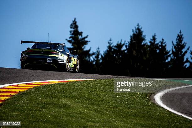 In this handout image provided by Red Bull, The Aston Martin GT8 Vantage of Richie Stanaway of New Zealand, Fernando Ress of Brazil and Jonathan Adam...