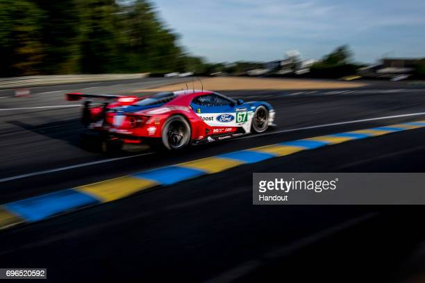 In this handout image provided by Red Bull, The Chip Ganassi Ford GT driven by Luis-Felipe Derani of Brazil, and Andy Prialux and Harry Tincknell of...