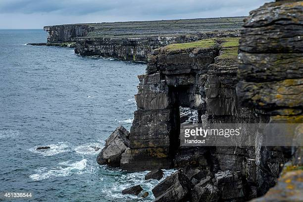 In this handout image provided by Red Bull the cliffs of Inis Mor during the third stop of the Red Bull Cliff Diving World Series on June 26 2014 in...