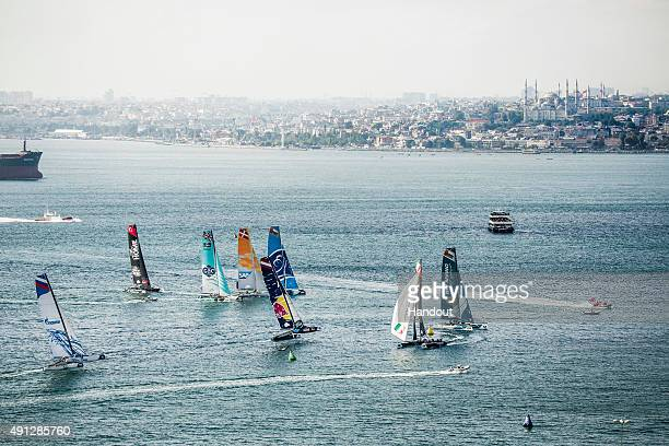 In this handout image provided by Red Bull The Extreme 40 catamarans compete during day four of the seventh stop of the Extreme Sailing Series Series...
