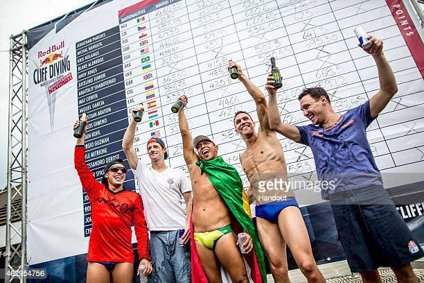 In this handout image provided by Red Bull The five divers now qualified to join the 2015 World Series Jonathan Paredes of Mexico Andy Jones of the...