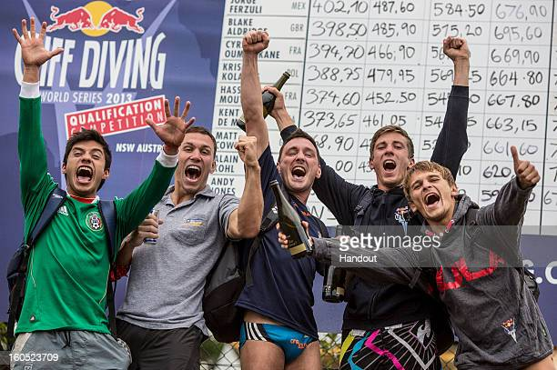 In this handout image provided by Red Bull the five qualified divers Jonathan Paredes of Mexico Michal Navratil of the Czech Republic Blake Aldridge...