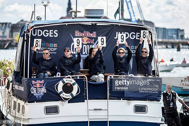 In this handout image provided by Red Bull the judges Renato Rossi of Italy Dmitri Sautin of Russia Marion Reiff of Germany Anke Piper of Germany and...