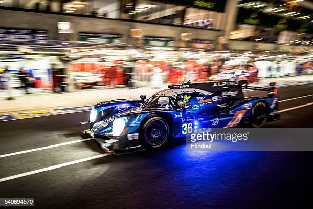 In this handout image provided by Red Bull The Signatech Alpine LMP2 driven by Nicolas Lapierre of France Gustavo Menezes of the USA and Stephane...