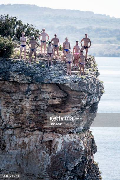 In this handout image provided by Red Bull The ten male permanent series divers Andy Jones Orlando Duque Gary Hunt Steven LoBue Kris Kolanus...