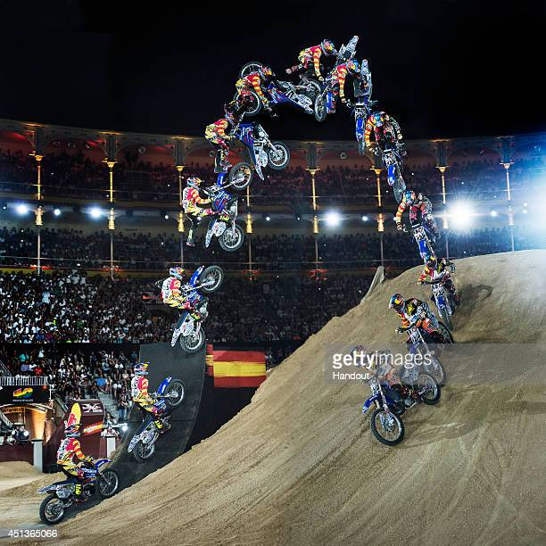 In this handout image provided by Red Bull Thomas Pages of France performs during the finals of the third stage of the Red Bull XFighters World Tour...