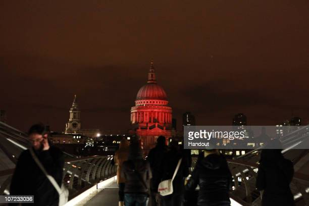 In this handout image provided by RED ST Paul's Cathedral turns on World AIDS Day 2010 on December 1 2010 London England More than 80 iconic...