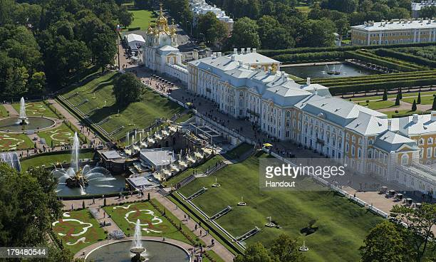 In this handout image provided by Ria Novosti, An aerial view of the Grand Palace of the Peterhof State Museum Reserve ahead of the G20 summit on...