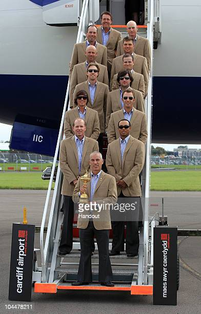 In this handout image provided by Ryder Cup Europe USA team captain Corey Pavin arrives with the USA team at Cardiff Airport prior to the start of...