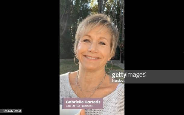 In this handout image provided by Screen Actors Guild, Gabrielle Carteris, SAG-AFTRA President, is seen in a screengrab speaking during the 27th...