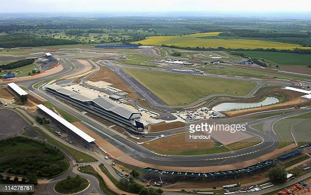 In this handout image provided by Silverstone Circuit, An aerial view of the new pits and paddock during the opening of the Silverstone Wing at...