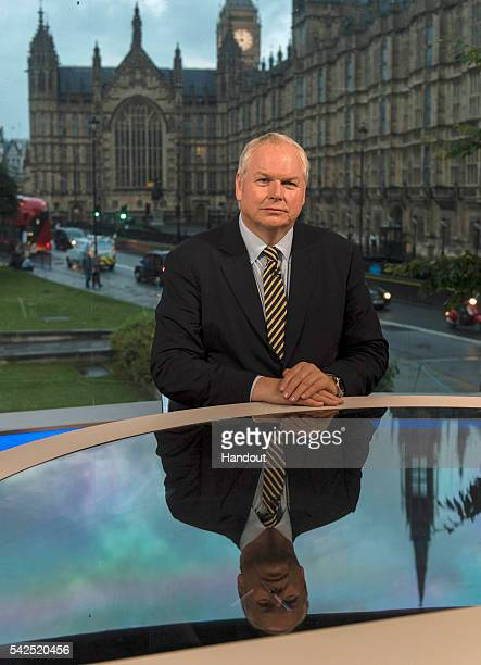 In this handout image provided by Sky News Adam Boulton prepares to deliver the referendum results on June 23 2016 in London England