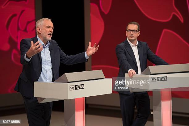 In this handout image provided by Sky News, Labour leader Jeremy Corbyn and Labour leader candidate Owen Smith take part in a televised hustings...