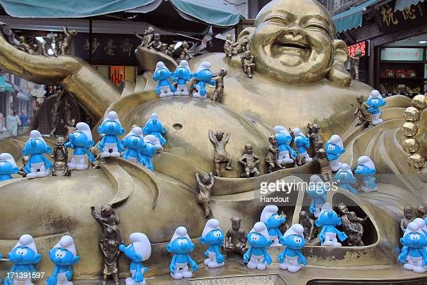 In this handout image provided by Sony Pictures Entertainment Smurfs invade Hangzhouin in celebration for Global Smurfs Day 2013 on June 22 2013 in...