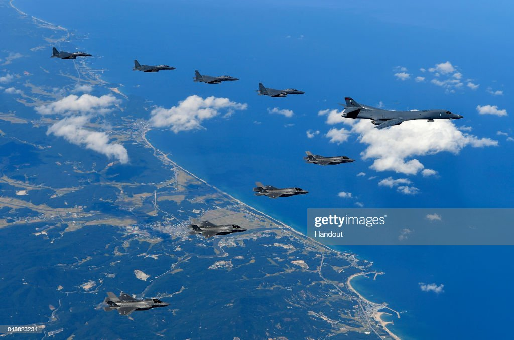 US Bombers Fly Near Military Demarcation Line Between Two Koreas : News Photo