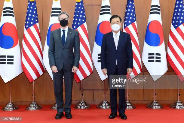 In this handout image provided by South Korean Foreign Ministry, U.S. Secretary of State Antony Blinken and South Korean Foreign Minister Chung...