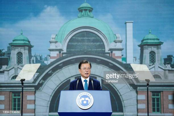 In this handout image provided by South Korean Presidential Blue House, South Korean President Moon Jae-in speaks during the celebration of the 76th...