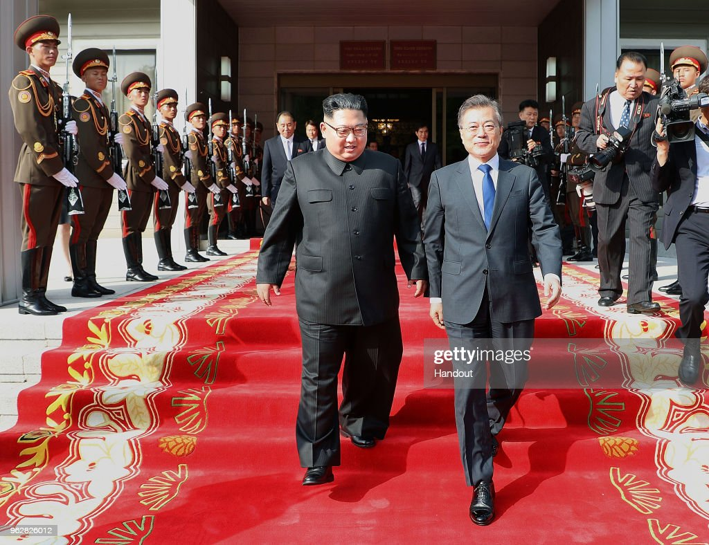 Korean Leaders Moon Jae-in And Kim Jong-Un Hold Surprise Second Summit : News Photo
