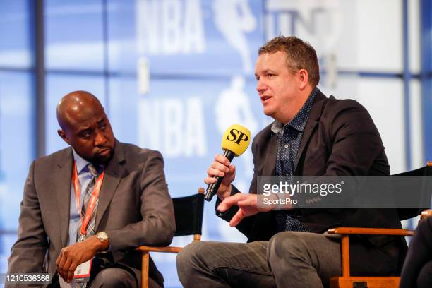In this handout image provided by SportsPro Jabari Young CNBC and Darren Lepke Verizon Media spoke on the Right Place Right Time panel during the...