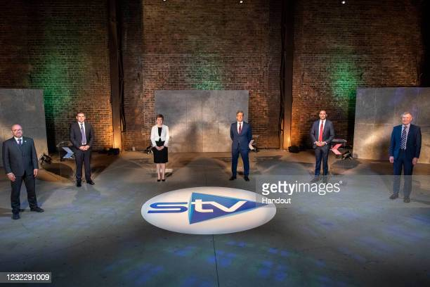In this handout image provided by STV, the five leaders of Scotland's main political parties – Patrick Harvie, co-leader of the Scottish Green Party,...