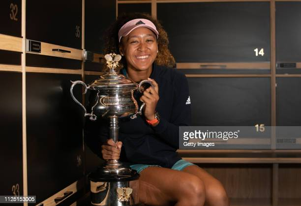 In this handout image provided by Tennis Australia, 2019 Australian Open Women's Singles Final Winner Naomi Osaka of Japan poses with the Daphne...