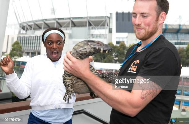 In this handout image provided by Tennis Australia Sloane Stephens of the United States meets a goanna during day three of the 2019 Australian Open...